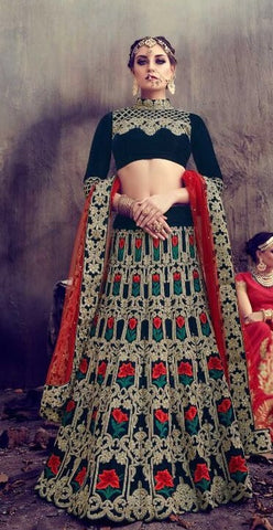 Dark Cyan Bridal Velvet Lehenga Choli And Dupatta