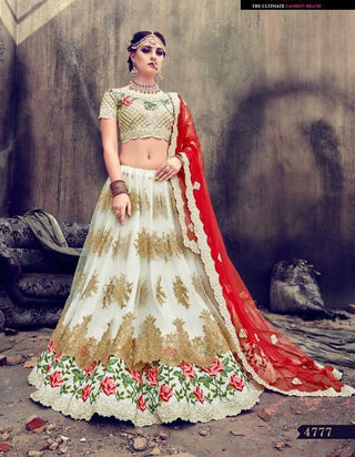 Off White Heavy Embroidered Net Bridal Lehenga And Choli With Dupatta
