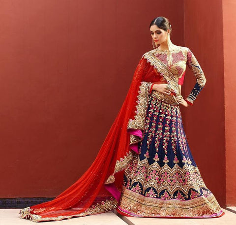 Blue,Art Silk,Heavy bridal lehenga with heavy embroidery for wedding