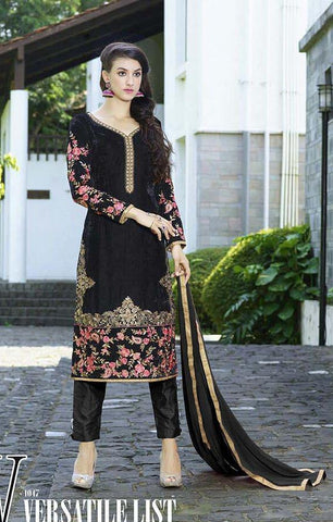 Black heavy embroidered straight knee length suits with velvet fabric