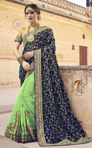 Blue Green Georgette Party Wear Saree With Golden Blouse