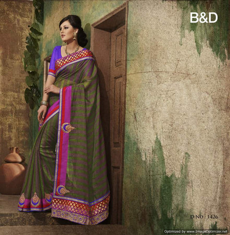 Green Bhagalpuri Saree with hand work and Embroidery