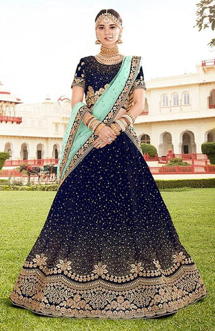 Navy Blue Velvet Bridal Lehenga With Blue Dupatta