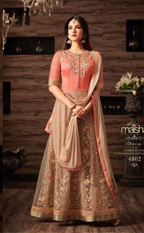 Beige And Peach Net Anarkali Suit In Embrodiery With Dupatta