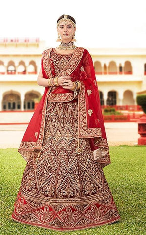Maroon Velvet Bridal Lehenga With Red Dupatta
