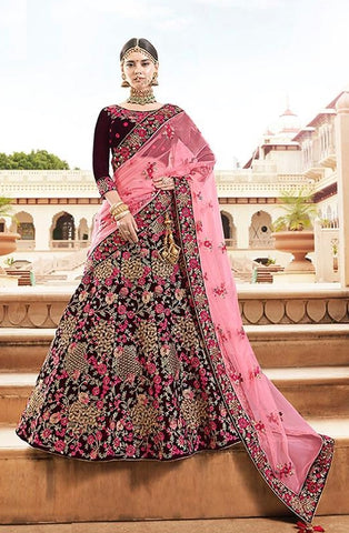 Purple Velvet Bridal Lehenga With Pink Dupatta