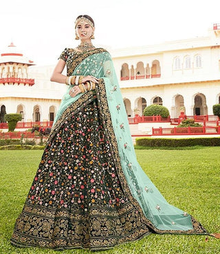 Green Velvet Bridal Lehenga With Blue Dupatta