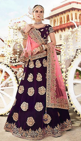 Wine Velvet Bridal Lehenga With Pink Dupatta