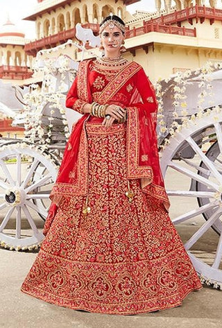 Red Satin Bridal Lehenga With Red Dupatta
