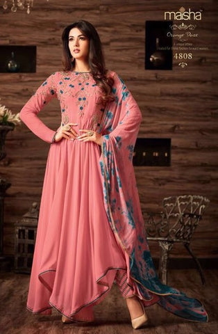 Pink Georgette High Low Anarkali Type Suit With Dupatta