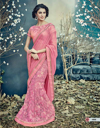 Pink Net Saree With Pink Blouse