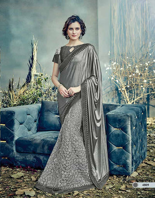 Grey/Silverish Net Saree With Grey Blouse