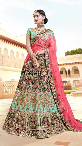 Sea Green Silk Bridal Lehenga With Pink Dupatta