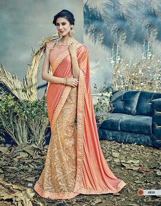Peach Net Saree With Peach Blouse