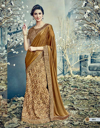 Beige Net Saree With Brown Blouse