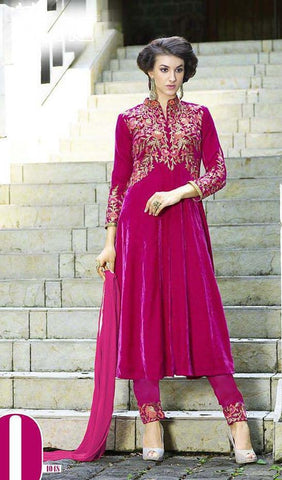 Pink velvet designer anarkali style heavy embroidered suits with chiffon dupatta
