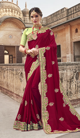 Maroon Georgette Party Wear Saree With Green Blouse