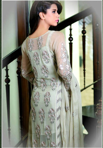 Embroidered beige knee length straight salwar suits dress material