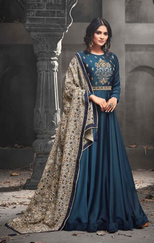 Cyan Blue Silk  Gown Style  Anarkali With Beige Dupatta
