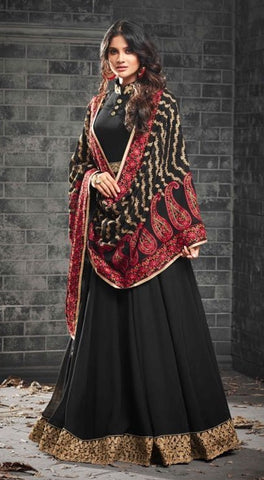 Black Georgette  Gown Style  Anarkali Dress With Red Dupatta