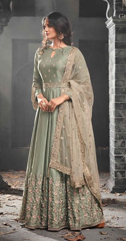 Grey Silk  Gown Style  Anarkali Suit With Beige Dupatta