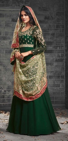 Dark Green Georgette  Gown Style  Anarkali Suit With Beige Dupatta