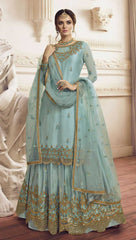 Sea Blue Net Party Wear Salwar Kameez With  Dupatta