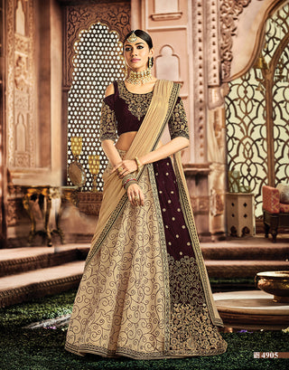 Velvet Silk Maroon Beige Lehenga With Dupatta And Choli