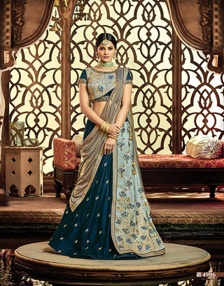 Velvet Silk Blue Lehenga With Choli And Golden Dupatta