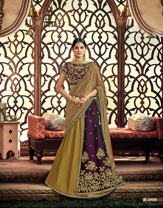 Velvet Olive Green Purple Lehenga With Blouse And Golden Dupatta