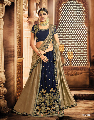 Velvet Blue Embroidered Lehenga With Choli And Antique Gold Dupatta