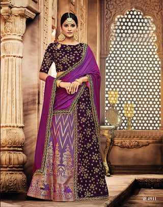 Silk Velvet Purple Tone Lehenga With Choli And Dupatta