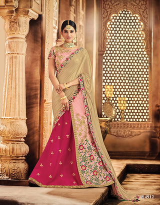 Silk Pink Lehenga, Choli With Floral Thread Work And With Golden Dupatta