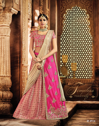Pink Tone Silk Lehenga Choli With Golden Dupatta