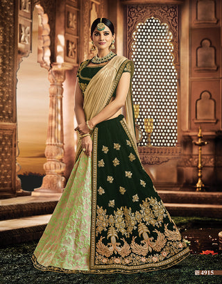Silk Velvet Green Lehenga And Choli With Golden Dupatta