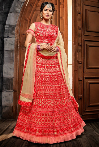 Red Net Party Wear Lehenga With Beige Dupatta