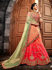 Pink Silk Party Wear Lehenga With Green Dupatta