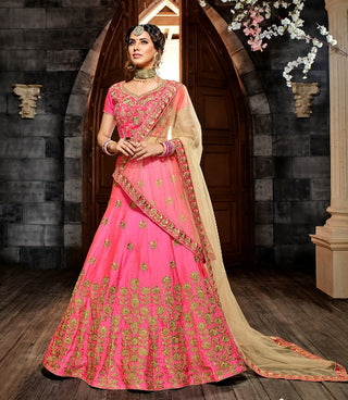 Pink Silk Party Wear Lehenga With Beige Dupatta