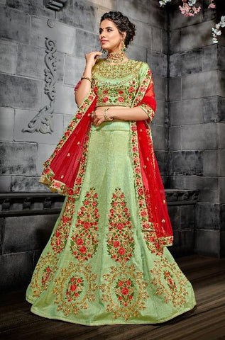 Green Silk Party Wear Lehenga With Red Dupatta