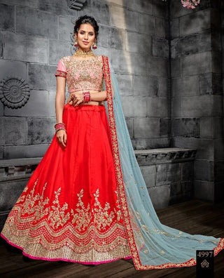 Red Silk Party Wear Lehenga With Blue Dupatta
