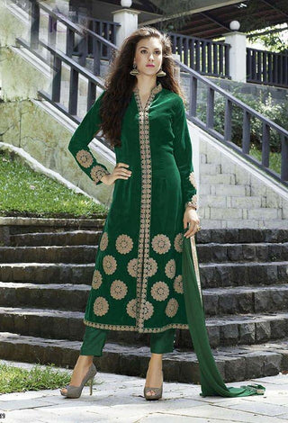 Green straight knee length embroidered suits with velvet fabric
