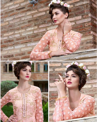 Peach embroidered long salwar suits georgette fabric