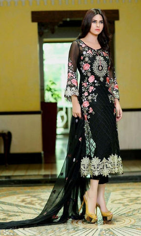 Black embroidered straight knee length salwar suits dress material