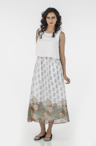 Copy of Printed Sleeveless  Maxi Dress DN 1013