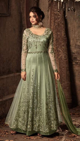 Green Net Embroidery Anarkali Dress With Green Dupatta