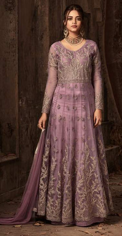 Purple Net Embroidery Anarkali Suit With Purple Dupatta