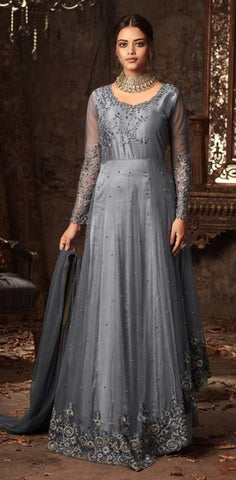 Grey Net Embroidery Anarkali Dress With Grey Dupatta