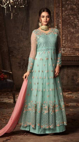 Blue Net Embroidery Anarkali Suit With Blue Dupatta