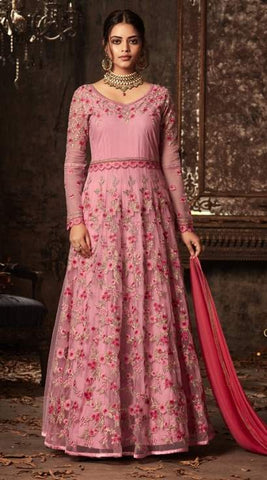 Pink Net Embroidery Anarkali With Pink Dupatta