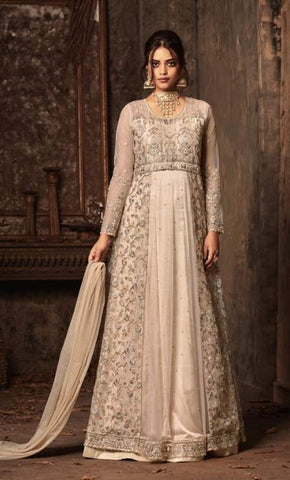 White Net Embroidery Anarkali With White Dupatta